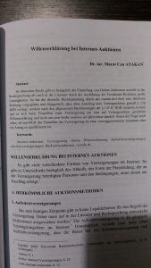 Willenserklärung bei Internet-Auktionen - İnterenet Açık Arttırmalarında İrade Beyanı - Murat Can Atakan - M. Can Atakan