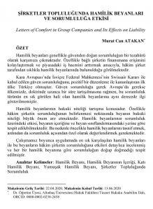 Şirketler Topluluğunda Hamilik Beyanları ve Sorumluluğa Etkisi - Murat Can Atakan - M.Can Atakan